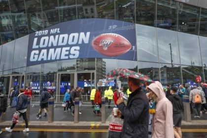 NFL football fans arrive at Tottenham Hotspur Stadium to watch an NFL football game between the Tampa Bay Buccaneers and the Carolina Panthers in London, in this Sunday, Oct. 13, 2019, file photo. The NFL is returning to London in October. The first game in London since the coronavirus pandemic …