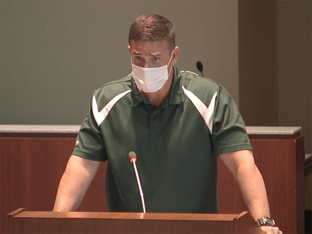 """Leesburg Elementary School physical education teacher Byron """"Tanner"""" Cross addresses the Loudoun County School Board during the public comment portion of the May 25 meeting. LCPS/Vimeo"""