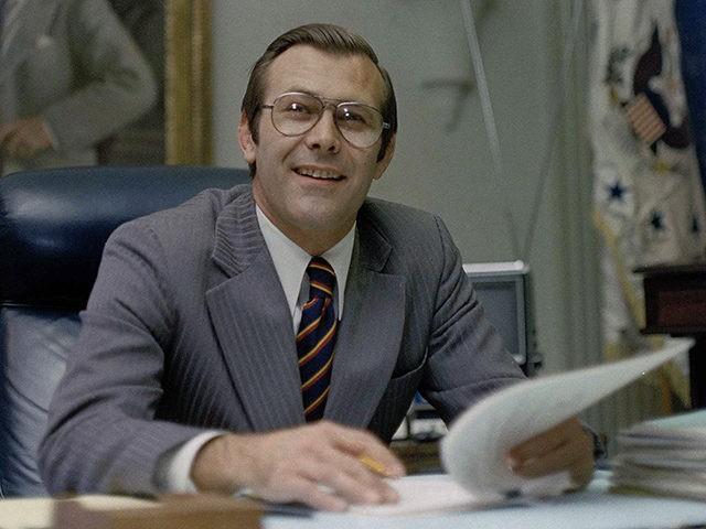 U.S. Secretary of Defense Donald Rumsfeld in his Washington, D.C, office, 1975. (AP photo)