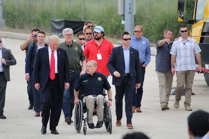 Texas Governor Greg Abbott escorts former President Donald Trump on a tour of the Texas border. (Photo: Randy Clark/Breitbart Texas)