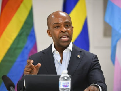 Human Rights Campaign President Alphonso David speaks during a Tennessee round table discussion and rally on Friday, May 21, 2021 in Nashville, Tenn. (John Amis/AP Images for The Human Rights Campaign)
