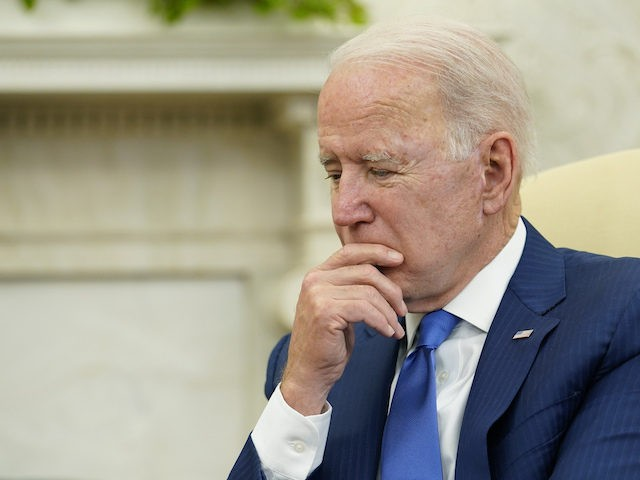 President Joe Biden listens during his meeting with Afghan President Ashraf Ghani and Chairman of the High Council for National Reconciliation Abdullah Abdullah, in the Oval Office of the White House in Washington, Friday, June 25, 2021. (AP Photo/Susan Walsh)