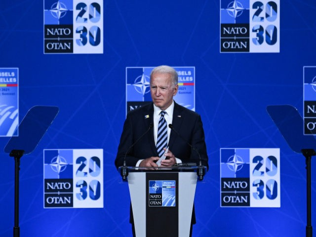 US President Joe Biden speaks during a press conference after the NATO summit at the North Atlantic Treaty Organization (NATO) headquarters in Brussels, on June 14, 2021. (Photo by Brendan SMIALOWSKI / AFP) (Photo by BRENDAN SMIALOWSKI/AFP via Getty Images)