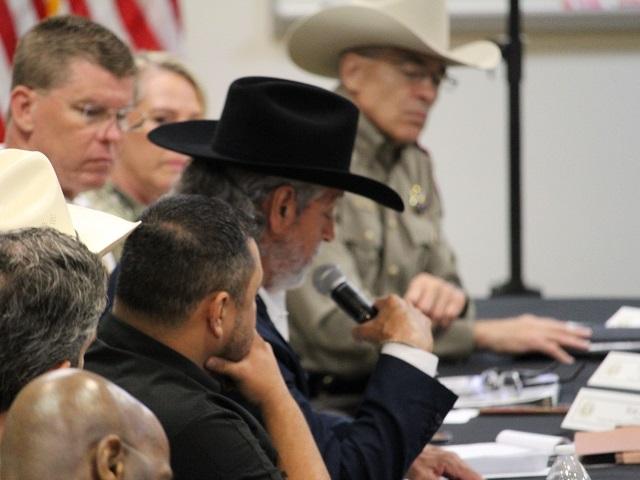 Brooks County Sheriff Benny Martinez briefs former President Donald Trump on migrant deaths. (Photo: Randy Clark/Breitbart Texas)