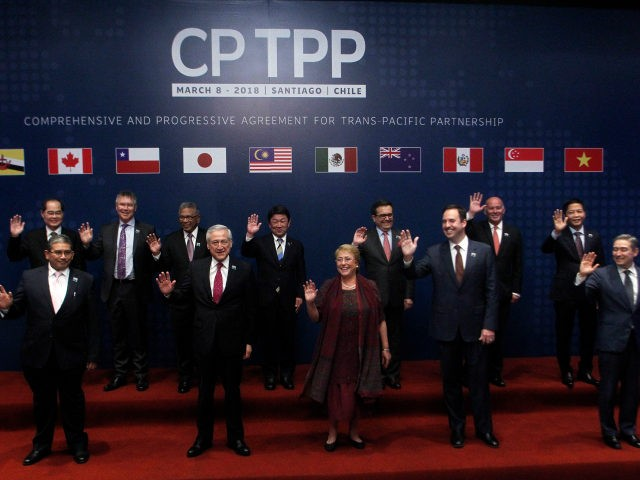(L-R, first row) Brunei's Acting Minister for Foreign Affairs Erywan Dato Pehin, Chile's Foreign Minister Heraldo Munoz, Chile's President Michelle Bachelet, Australia's Trade Minister Steven Ciobo and Canada's International Trade Minister Francois-Phillippe Champagne, and (L-R, back row) Singapore's Minister for Trade and Industry Lim Hng Kiang, New Zealand's Minister for …