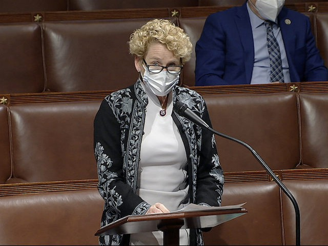In this image from video, Rep. Chrissy Houlahan, D-Pa., speaks as the House debates the objection to confirm the Electoral College vote from Pennsylvania, at the U.S. Capitol early Thursday, Jan. 7, 2021. (House Television via AP)