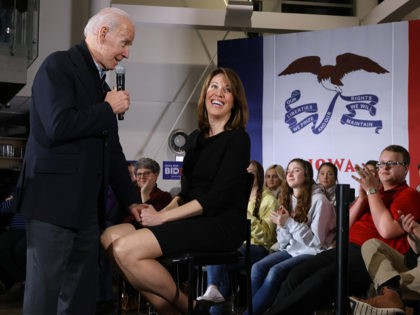 ANKENY, IOWA - JANUARY 25: Democratic presidential candidate former Vice President Joe Biden (L) is joined by Rep. Cindy Axne (D-IA) during a town hall meeting inside the John Deere Exhibition Hall at the FFA Enrichment Center January 25, 2020 in Ankeny, Iowa. While three of the top-polling Democratic presidential …
