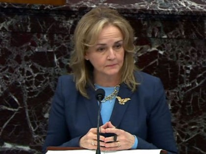 WASHINGTON, DC - FEBRUARY 13: In this screenshot taken from a congress.gov webcast, Impeachment Manager Rep. Madeleine Dean (D-PA) delivers closing arguments on the fifth day of former President Donald Trump's second impeachment trial at the U.S. Capitol on February 13, 2021 in Washington, DC. House impeachment managers had argued …