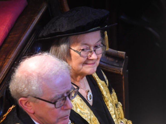 LONDON, ENGLAND - OCTOBER 01: Lady Hale in Westminster Abbey during the Judge's Ceremony on October 1, 2019 in London, England. The legal year begins at the beginning of October and since the middle ages has been marked with a procession of judges from Temple Bar to Westminster Abbey for …