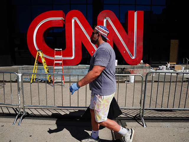 Damage is seen to the CNN logo following an overnight demonstration over the Minneapolis death of George Floyd while in police custody on May 30, 2020 in Atlanta, Georgia. Demonstrations are being held across the U.S. after George Floyd died in police custody on May 25th in Minneapolis, Minnesota. (Photo by Elijah Nouvelage/Getty Images)