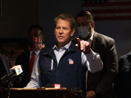 MARIETTA, GA - APRIL 10: Georgia Gov. Brian Kemp speaks at a news conference about the state's new Election Integrity Law that passed this week at AJ's Famous Seafood and Poboys on April 10, 2021 in Marietta, Georgia. Major League Baseball announced it would move the All-Star Game out of …