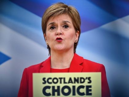 Scotland's First Minister and leader of the Scottish National Party (SNP) Nicola Sturgeon, launches the party's Election Manifesto in Glasgow on April 15, 2021, during campaigning for the Scottish Parliamentary elections. - Scotland holds elections for its devolved parliament in Edinburgh on May 6 and the SNP hopes to use …