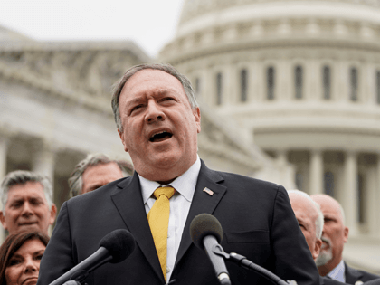 Former Secretary of State Mike Pompeo speaks to the media with members of the Republican Study Committee about Iran on April 21, 2021 in Washington, DC. The group has proposed legislation that would expand sanctions on Iran and aim to prevent the U.S. reentering the Iran deal. (Photo by Joshua …