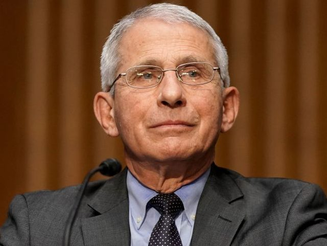 Dr. Anthony Fauci, director of the National Institute of Allergy and Infectious Diseases, speaks during a Senate Health, Education, Labor and Pensions Committee hearing to discuss the on-going federal response to Covid-19 on May 11, 2021 at the US Capitol in Washington, DC. (Photo by Greg Nash / POOL / …