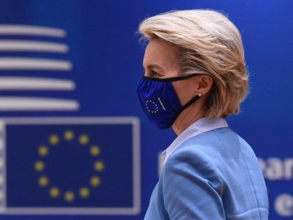 President of the European Commission Ursula von der Leyen arrives to attend the second day of the EU summit at the European Council building in Brussels on May 25, 2021. - European Union leaders take part in a two day in-person meeting to discuss the coronavirus pandemic, climate and Russia. …
