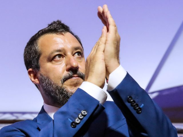 Italian Federal Secretary of Lega party and former Deputy Prime Minister of Italy Matteo Salvini applauds as he attends the closing ceremony of the third Chega National Congress in Coimbra, on May 30, 2021. (Photo by PEDRO ROCHA / AFP) (Photo by PEDRO ROCHA/AFP via Getty Images)