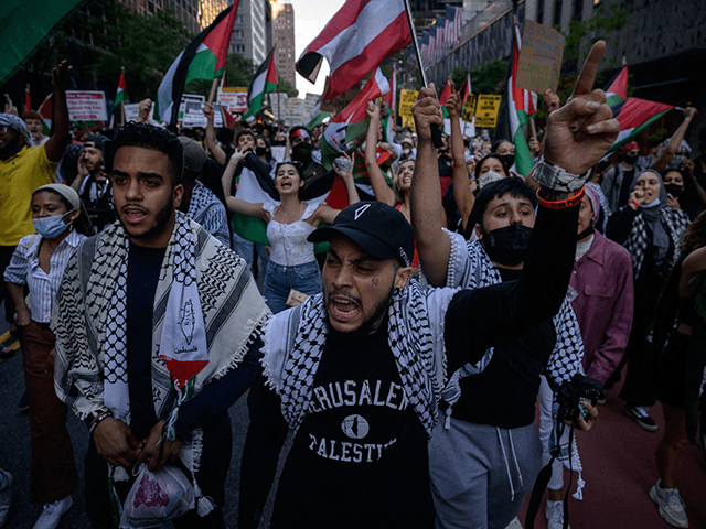 Demonstrators shout slogans and wave flags as they march during an 'emergency rally to defend Palestine' in Manhattan, New York on June 15, 2021. - Israel carried out air strikes on the Gaza Strip early June 16 after militants in the Palestinian territory sent incendiary balloons into the south of …