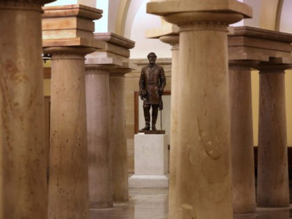 WASHINGTON, DC - JUNE 18: A statue of Robert E. Lee, commander of the Confederate States Army during the Civil War, is on display in the Crypt of the U.S. Capitol June 18, 2020 in Washington, DC. Speaker of the House Nancy Pelosi (D-CA) has requested that Congress remove this …