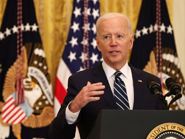 WASHINGTON, DC - MARCH 25: U.S. President Joe Biden talks to reporters during the first news conference of his presidency in the East Room of the White House on March 25, 2021 in Washington, DC. On the 64th day of his administration, Biden, 78, faced questions about the coronavirus pandemic, …