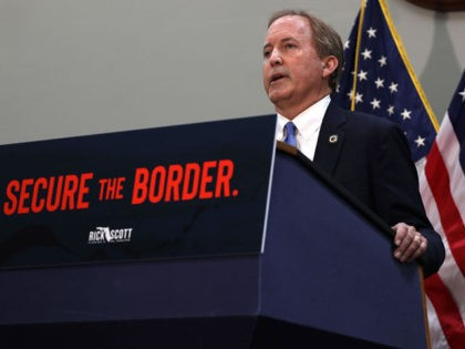 WASHINGTON, DC - MAY 12: Texas Attorney General Ken Paxton speaks at a news conference on the U.S. Southern Border and President Joe Biden's immigration policies, in the Hart Senate Office Building on May 12, 2021 in Washington, DC. Homeland Security Secretary Alejandro Mayorkas will testify on May 13 before …