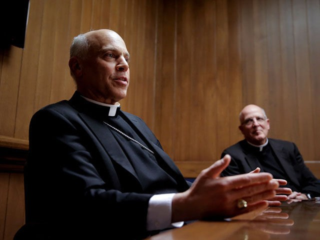 """San Francisco Archbishop Salvatore Cordileone, (left) is joined by Vicar for Administration, Father John J. Piderit during a meeting with the Chronicle's editorial board on Tues. February 24, 2015. Cordileone is a leading conservative """"culture warrior"""" among the nation's Catholic Church leaders. (Photo By Michael Macor/The San Francisco Chronicle via …"""