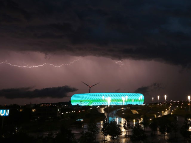 MUNICH, GERMANY - JUNE 23: Lightning is pictured during a thunderstorm over Allianz Arena soccer stadium during the Euro 2020 Group F match between Germany and Hungary on June 23, 2021 in Munich, Germany during EURO 2020. (Photo by Alexandra Beier/Getty Images)