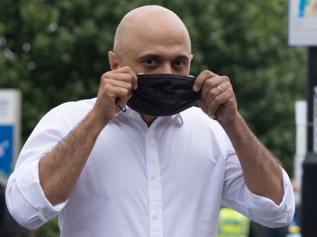 LONDON, ENGLAND - JUNE 28: Newly appointed Health secretary Sajid Javid puts on a face mask as he leaves St Thomas' Hospital after a visit on June 28, 2021 in London, England. Sajid Javid previously served as Home Secretary from 2018-2019. He replaces Matt Hancock as secretary for the Department …