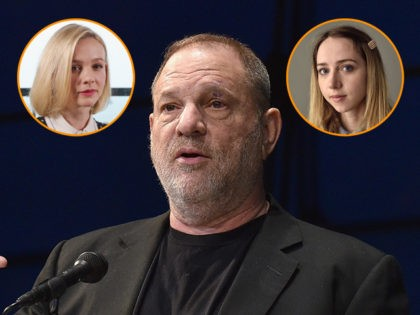 (INSETS: Actresses Carey Mulligan and Zoe Kazan) NEW YORK, NY - APRIL 19: Co-Chairman of The Weinstein Company Harvey Weinstein speaks at National Geographic's Further Front Event at Jazz at Lincoln Center on April 19, 2017 in New York City. (Photo by Bryan Bedder/Getty Images for National Geographic)