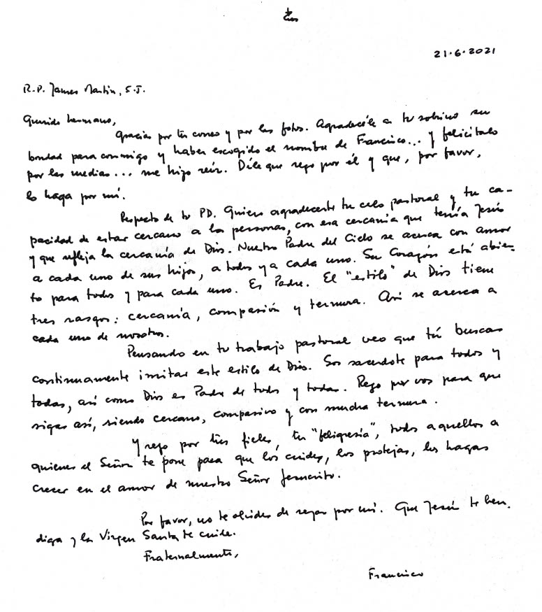 Letter of Pope Francis to Jesuit Father James Martin.