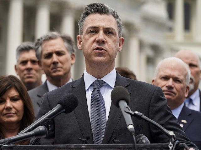 WASHINGTON, DC - APRIL 21: Rep. Jim Banks (R-IN) speaks to the media with members of the Republican Study Committee about Iran on April 21, 2021 in Washington, DC. The group has proposed legislation that would expand sanctions on Iran and aim to prevent the U.S. reentering the Iran deal. …