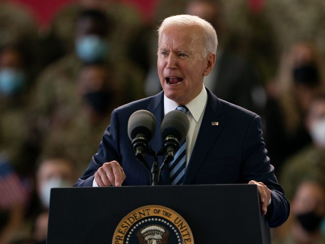 MILDENHALL, ENGLAND - JUNE 09: US President Joe Biden addresses US Air Force personnel at RAF Mildenhall in Suffolk, ahead of the G7 summit in Cornwall, on June 9, 2021 in Mildenhall, England. On June 11, Prime Minister Boris Johnson will host the Group of Seven leaders at a three-day …