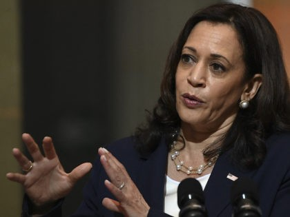 """US Vice-President Kamala Harris speaks during a joint press conference with Guatemalan President Alejandro Giammattei (out of frame) at the Culture Palace in Guatemala City on June 7, 2021. - Harris arrived in Guatemala Sunday, bringing a message of """"hope"""" to a region hammered by Covid-19 and which is the …"""