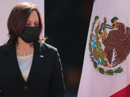MEXICO CITY, MEXICO - JUNE 08: Vice President of US Kamala Harris looks on during the signing of a memorandum of understanding focused on immigration issues in America at Palacio Nacional on June 08, 2021 in Mexico City, Mexico. (Photo by Hector Vivas/Getty Images)