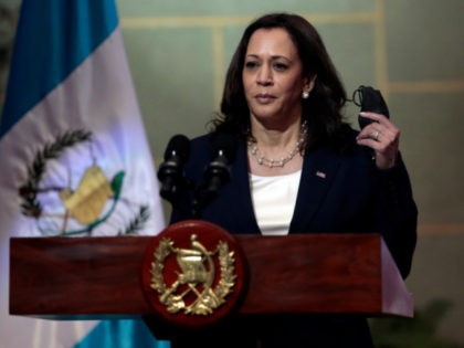 Vice President Kamala Harris removes her mask, amid the COVID-19 pandemic, at the start of a news conference with Guatemalan President Alejandro Giammattei at the National Palace in Guatemala City, Monday, June 7, 2021. (AP Photo/Oliver de Ros)