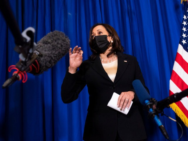 Vice President Kamala Harris speaks to the traveling press corps, Tuesday, June 8, 2021, at the Sofitel Mexico City Reforma in Mexico City. (AP Photo/Jacquelyn Martin)