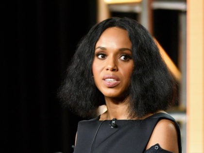 """PASADENA, CALIFORNIA - JANUARY 17: Kerry Washington of """"Little Fires Everywhere"""" speaks during the Hulu segment of the 2020 Winter TCA Press Tour at The Langham Huntington, Pasadena on January 17, 2020 in Pasadena, California. (Photo by Amy Sussman/Getty Images)"""