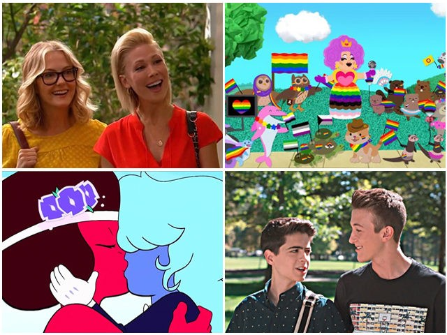 From top left going clockwise, two moms on Good Luck Charlie, Blue's Clues Pride Parade, Cyrus Goodman and his boyfriend on the Disney TV Show, Andi Mack, and a lesbian wedding on Steven Universe. (Disney, Nickelodeon, Cartoon Network)