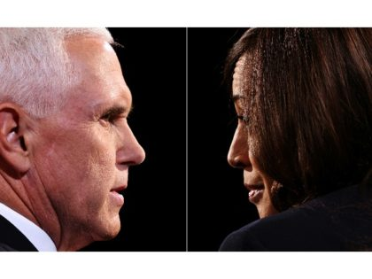 This combination of pictures created on October 07, 2020 shows US Vice President Mike Pence and Democratic vice presidential nominee and Senator from California Kamala Harris during the vice presidential debate in Kingsbury Hall at the University of Utah on October 7, 2020, in Salt Lake City, Utah. (Photos by …