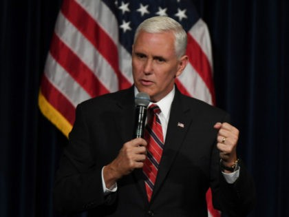 US Vice Presidential Candidate Mike Pence speaks to Republicans at the Ronald Reagan Presidential Library in Simi Valley, California on September 8, 2016. / AFP / Mark RALSTON (Photo credit should read MARK RALSTON/AFP via Getty Images)