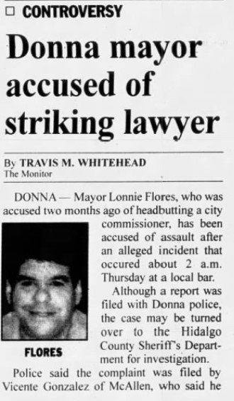 """(Travis M. Whitehead, """"Donna mayor accused of striking lawyer,"""" The Monitor, 10/20/2000)"""