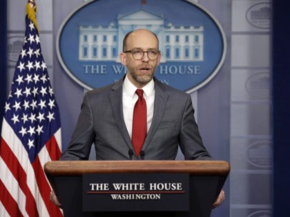 Acting OMB Director Russ Vought speaks during a press briefing at the White House, Monday, March 11, 2019, in Washington. (AP Photo/ Evan Vucci)
