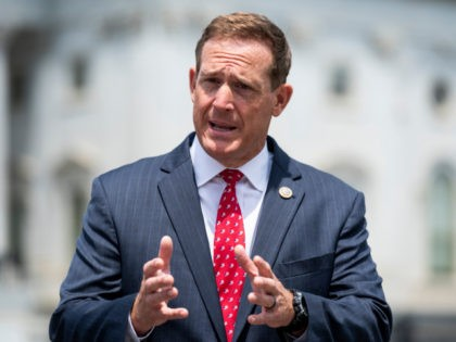 Rep. Ted Budd, R-N.C., does a television news interview outside the Capitol before the vote on the George Floyd Justice in Policing Act of 2020 on Thursday, June 25, 2020. (Photo By Bill Clark/CQ-Roll Call, Inc via Getty Images)