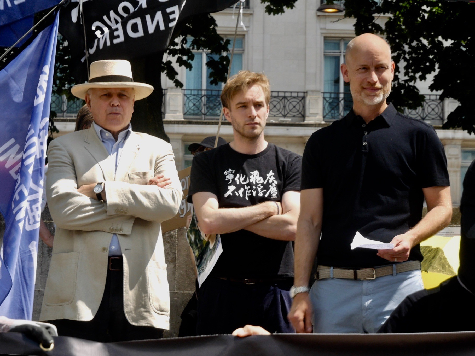 Sir Iain Duncan Smith, Labour MP Stephen Kinnock, and Hong Kong Watch's Luke de Pulford attend a pro-Hong Kong freedom protest in London. June 12th, 2021. Kurt Zindulka, Breitbart News