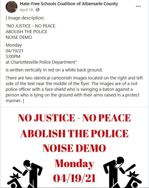 Facebook post of the Hate-Free Schools Coalition of Albemarle County. (Screenshot via Facebook).