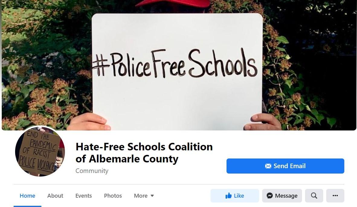 Facebook account of Hate-Free Schools Coalition of Albemarle County. Screenshot via Facebook.