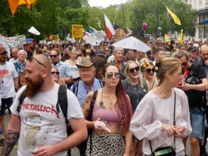 Protesters demonstrating against government coronavirus restrictions on Saturday, June 26th, 2021. (Kurt Zindulka/Breitbart News)