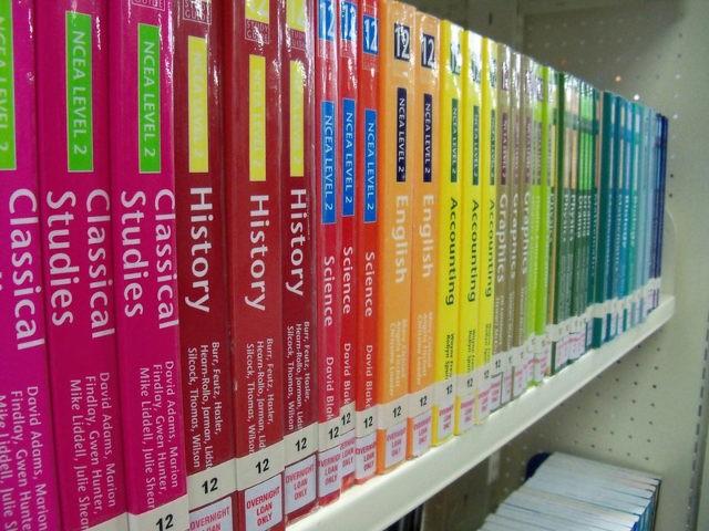 Textbooks on shelf