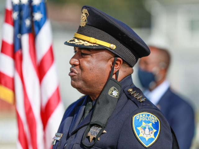 OAKLAND, CA - FEB. 8: Oakland Police Chief LeRonne Armstrong speaks after being sworn in at his alma mater, McClymonds High School on Monday, Feb. 8, 2021 in Oakland, California. (Gabrielle Lurie/The San Francisco Chronicle via Getty Images)