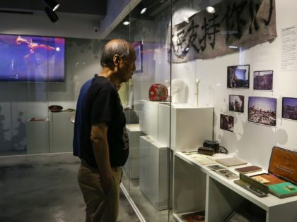 Artefacts recovered from the scene of the 1989 Tiananmen Square massacre, including bullets, are displayed at the June 4 Museum in Hong Kong on April 26, 2019. - The museum, which opened at its new location in the Kowloon district in Hong Kong on April 26, is a permanent museum …