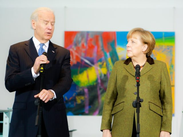 BERLIN, GERMANY - FEBRUARY 1: U.S. Vice President Joe Biden and German Chancellor Angela Merkel speak to the media prior to talks at the Chancellery on February 1, 2013 in Berlin, Germany. The two are meeting ahead of the Munich Security Conference, which takes place from February 1-3. (Photo by …